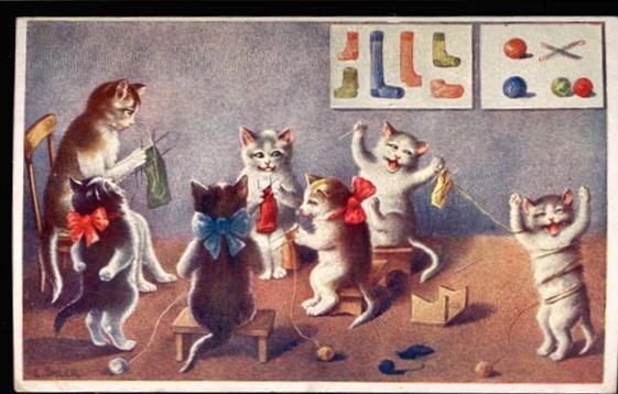 Kittens in Knitting Class