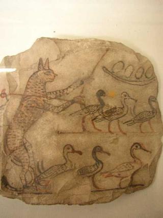 Figure-2.27ostracon-cat-herding-geese-cairoegyptianmuseum1150BCDeirelMedina