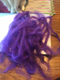 Purple fiber drafted